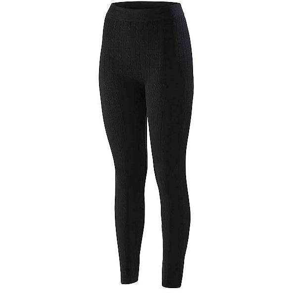 Terramar Seamless Footless Legging 3.0 Womens Long Underwear Pants, Black Cable, 600