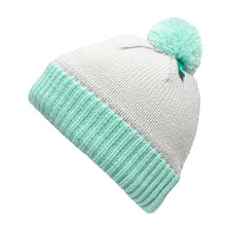 The North Face Youth Pom Pom Beanie Kids Hat (Previous Season), Lunar Ice Grey-Fanfare Green, 256