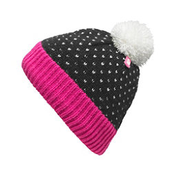 The North Face Youth Pom Pom Beanie Kids Hat (Previous Season), TNF Black-Cha Cha Pink, 256