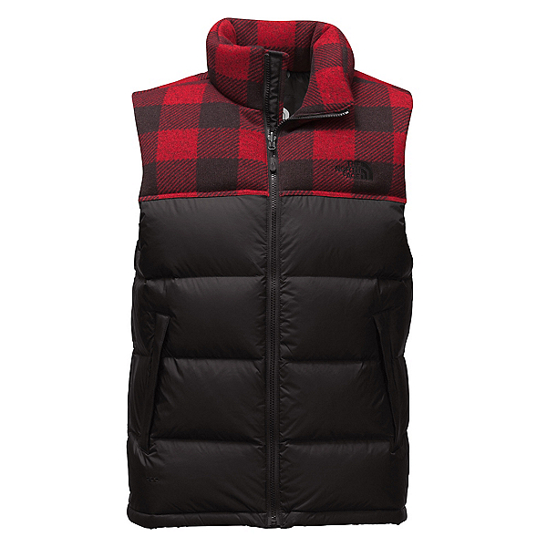 The North Face Nuptse Mens Vest (Previous Season), TNF Black-Cardinal Red Grizzly, 600