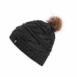 The North Face Triple Cable Fur Pom Beanie, TNF Black-Dijon Brown, 256