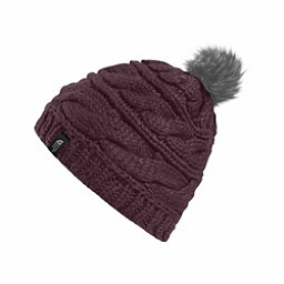 The North Face Triple Cable Fur Pom Beanie, Black Plum, 256