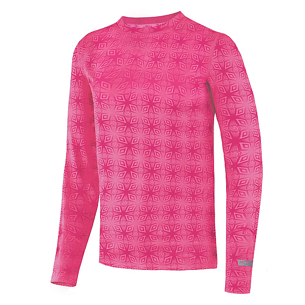 Terramar Thermolator Crew Girls Long Underwear Top, Pink Mountain Print, 600