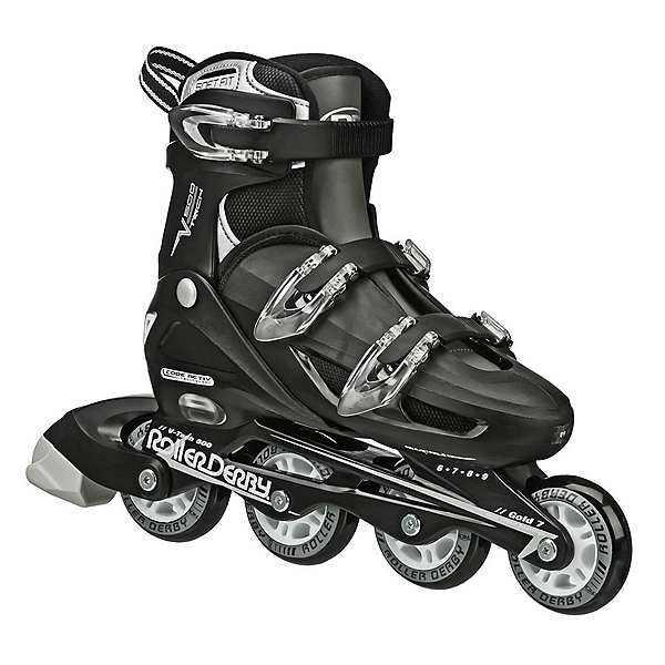 Roller Derby V Tech 500 Adjustable Kids Inline Skates, Black-Grey, 600