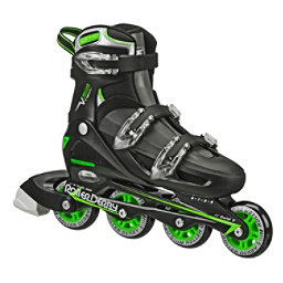 Roller Derby V Tech 500 Adjustable Kids Inline Skates, Black-Green, 256