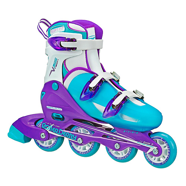 Roller Derby V Tech 500 Adjustable Girls Inline Skates, Blue-Purple, 600