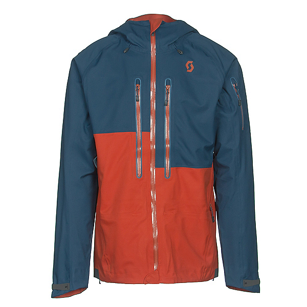 Scott Explorair 3L Mens Shell Ski Jacket, Eclipse Blue-Burnt Orange, 600