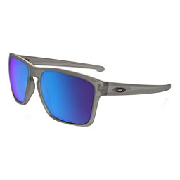 Oakley Silver XL Polarized Sunglasses, Matte Grey Ink-Sapphire Iridium Polarized, 256