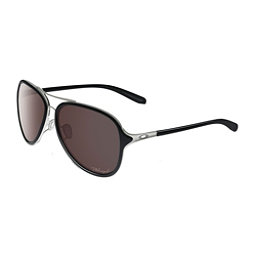 Oakley Kickback Polarized Womens Sunglasses, Satin Chrome-Polished Black Polarized, 256