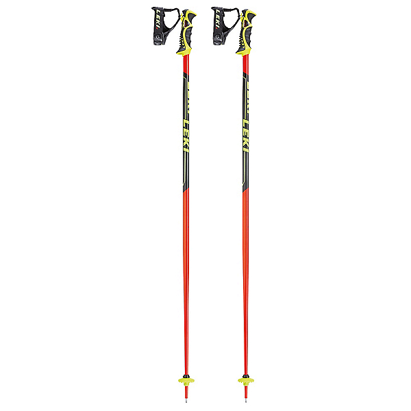 Leki World Cup SL Ski Poles, Black-Red, 600