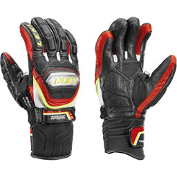 Leki World Cup Race Ti Speed System Glove Ski Racing Gloves, Black-Red-Yellow, 256