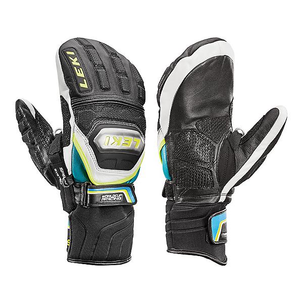 Leki World Cup Race Ti S Speed System Ski Racing Mittens, Black-White-Cyan-Yellow, 600