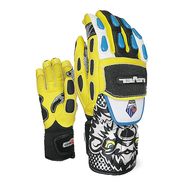 Level WorldCup CF Junior Ski Racing Gloves, Black-Yellow, 600