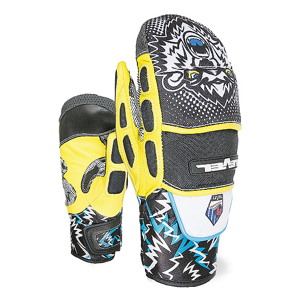 Level WorldCup CF JR Ski Racing Mittens, Black-Yellow, 600