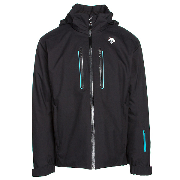 Descente Vertex Mens Insulated Ski Jacket, Black-Black-Teal Blue, 600