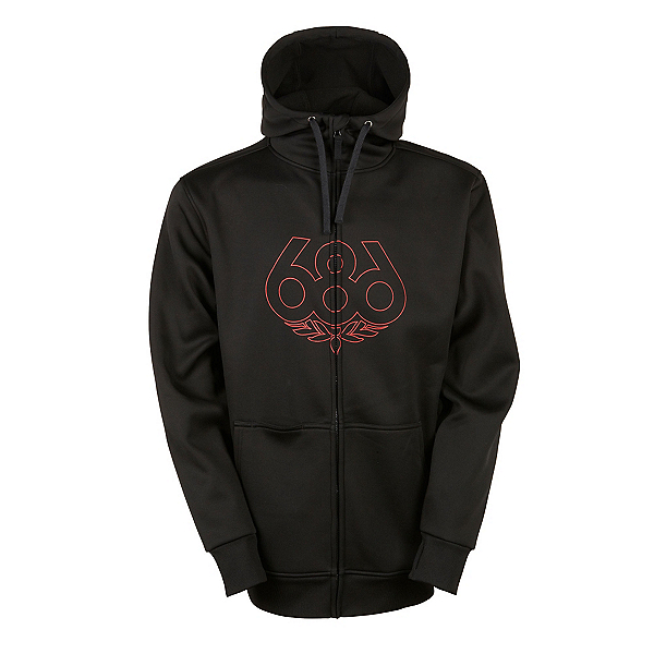 686 Icon Bonded Zip Fleece Mens Hoodie, Black, 600