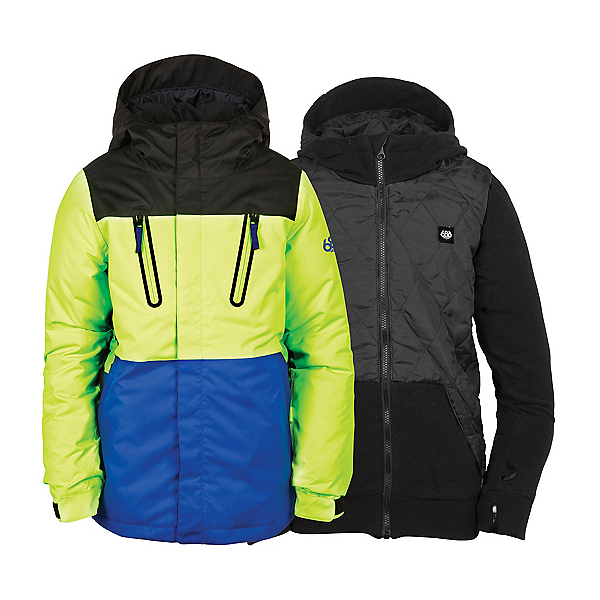 686 Smarty Merge Boys Snowboard Jacket, Mantis Green Colorblock, 600