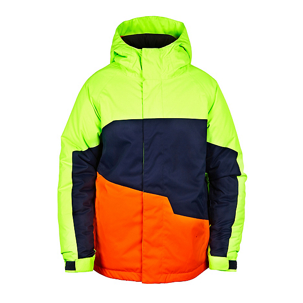 686 Grid Insulated Boys Snowboard Jacket, Mantis Green Colorblock, 600