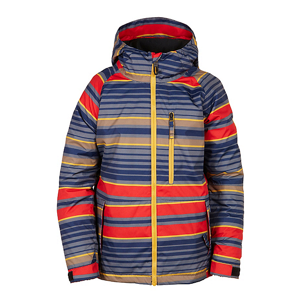 686 Jinx Insulated Boys Snowboard Jacket, Red Stripe, 600