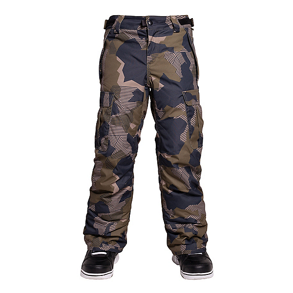 686 All Terrain Insulated Kids Snowboard Pants, Olive Geo Camo, 600