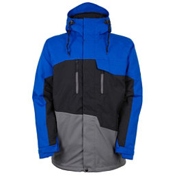 686 Authentic Geo Mens Insulated Snowboard Jacket, Cobalt Colorblock, 256