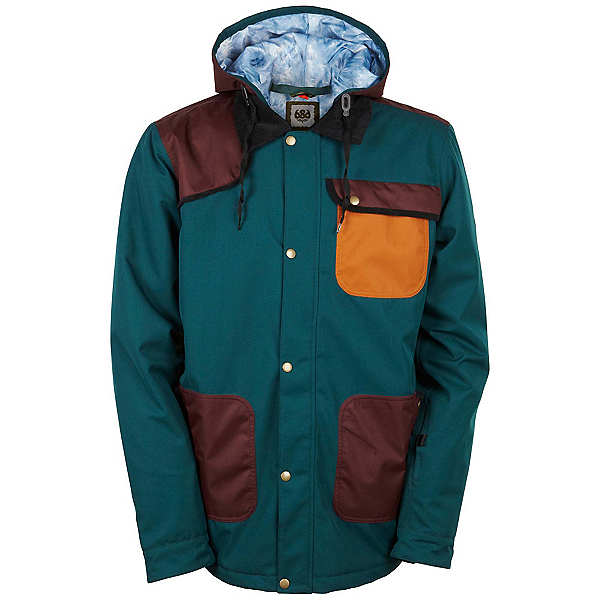686 Forest Bailey Cosmic Happy Mens Insulated Snowboard Jacket, Black Jade Colorblock, 600