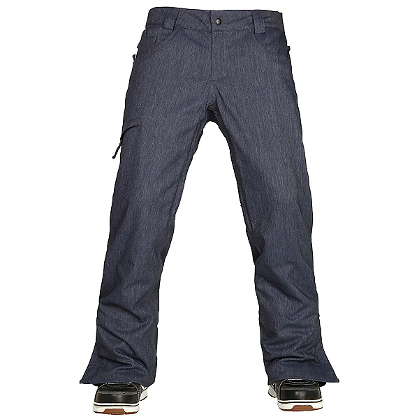 686 Authentic Raw Insulated Mens Snowboard Pants, Midnight Blue Denim, 600