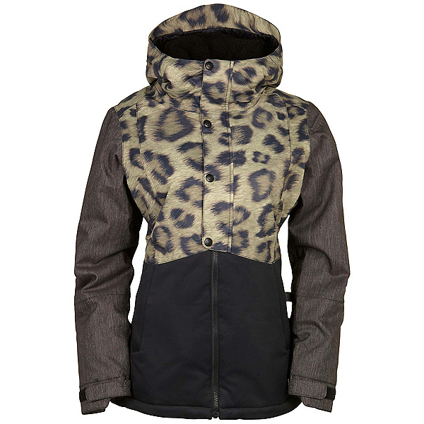 686 Authentic Rumor Womens Insulated Snowboard Jacket, Leopard Colorblock, 600