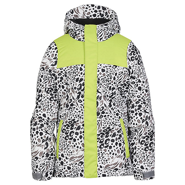686 Ella Insulated Girls Snowboard Jacket, Grey Animal Colorblock, 600