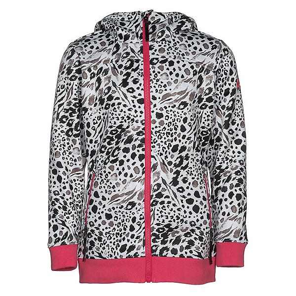 686 Allure Bonded Fleece Girls Kids Hoodie, Grey Animal, 600