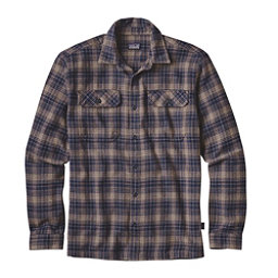 Patagonia Fjord Mens Flannel Shirt, Valley Oak-Navy Blue, 256