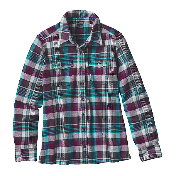 Patagonia Fjord Womens Flannel Shirt, Bay Laurel-Forge Grey, 600