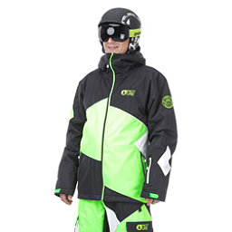 Picture Styler Mens Insulated Ski Jacket, Black-Neon Green-White, 256