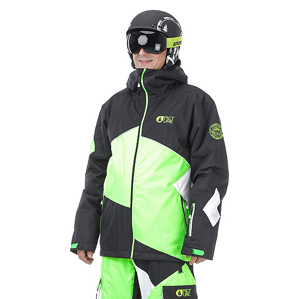 Picture Styler Mens Insulated Ski Jacket, Black-Neon Green-White, 600