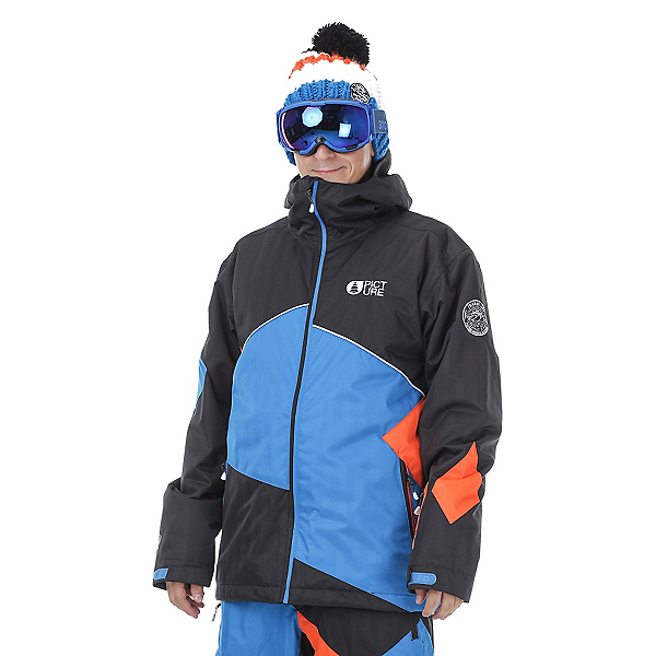 Picture Styler Mens Insulated Ski Jacket, Black-Picture Blue-Orange, 600