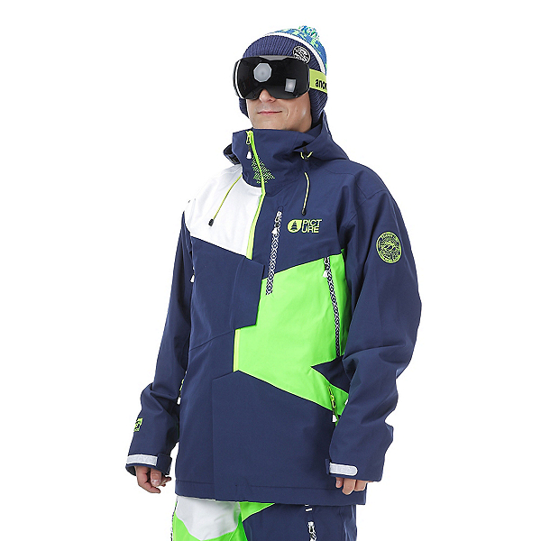 Picture Nova Mens Insulated Ski Jacket, Dark Blue-Neon Green-White, 600