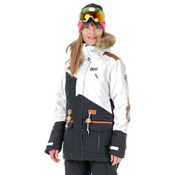Picture Apply 2 Womens Insulated Snowboard Jacket, White-Black-Brown Leather, 256