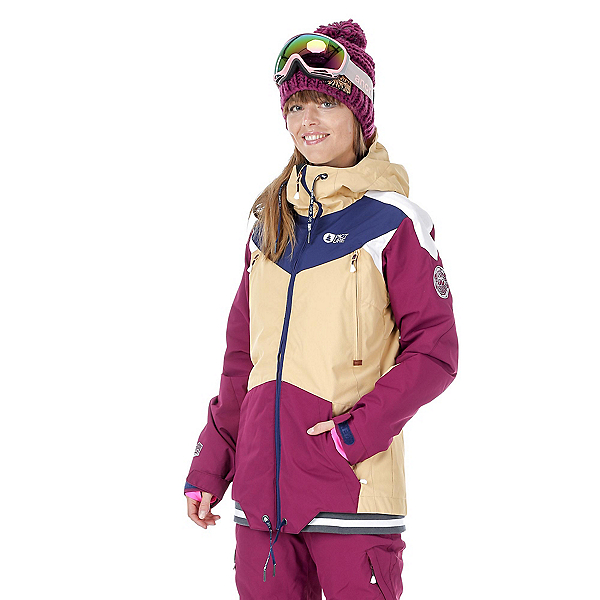 Picture Aroma Womens Insulated Snowboard Jacket, Beige-Burgundy-Dark Blue, 600
