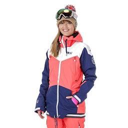 Picture Aroma Womens Insulated Snowboard Jacket, Coral-Dark Blue-White, 256