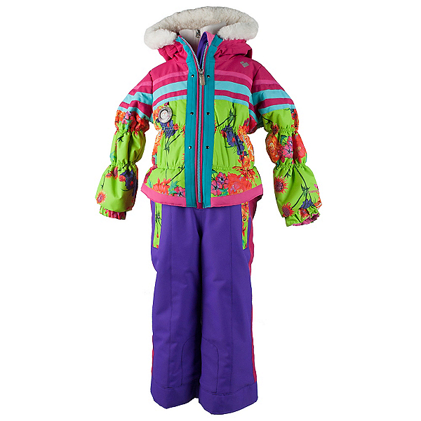 Obermeyer Skitter Toddler Girls One Piece Ski Suit, Flower Burst, 600