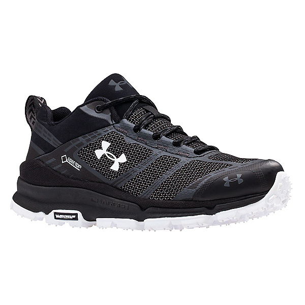 Under Armour Verge Low GTX Womens Shoes, Black-Black-White, 600