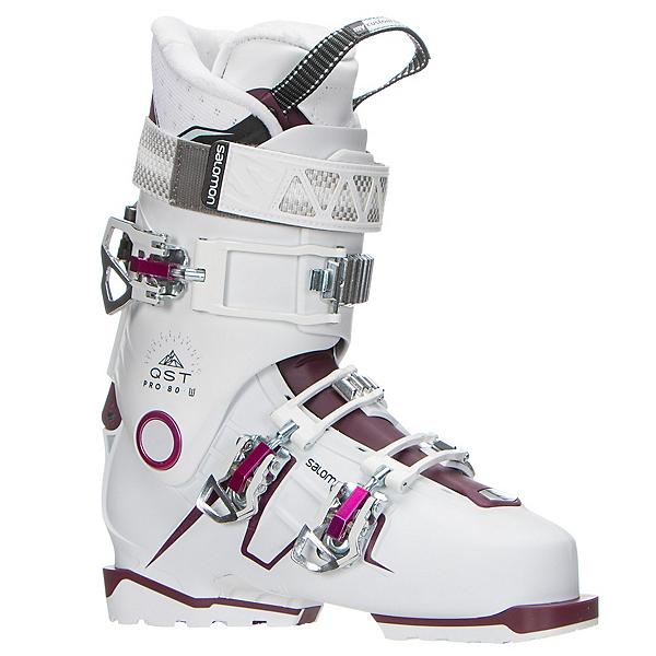 Salomon QST Pro 80 W Womens Ski Boots 2018, White-Burgandy-Pink, 600
