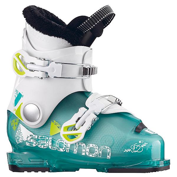 Salomon T2 RT Girly Girls Ski Boots 2018, Light Green Translucent-White, 600