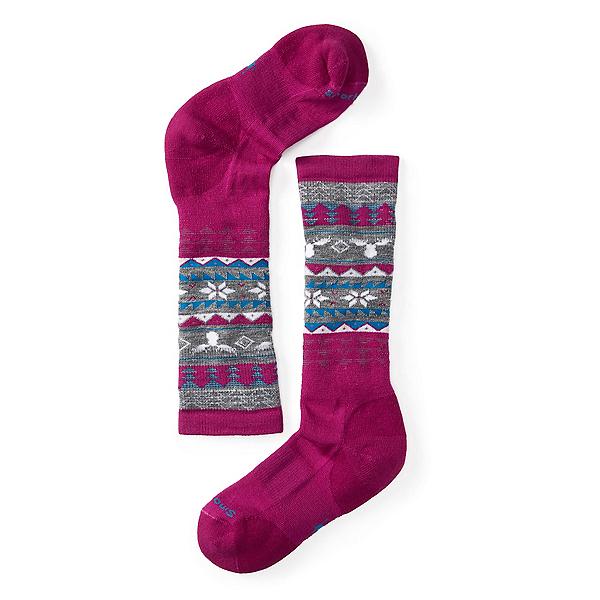 SmartWool Wintersport Fairisle Moose Girls Ski Socks, Berry, 600