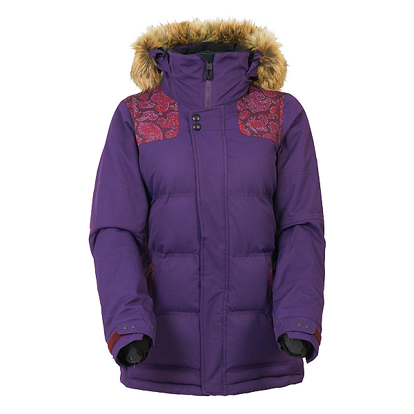686 Authentic Runway with Faux Fur Womens Insulated Snowboard Jacket, Wine Paisley Herringbone, 600