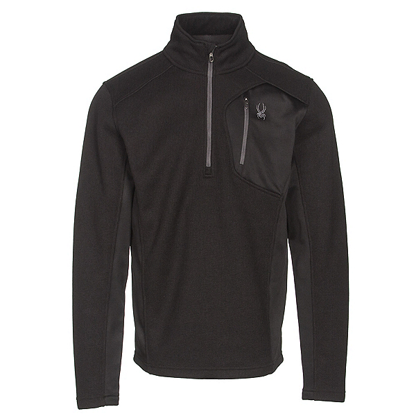 Spyder Bandit Half Zip Mens Sweater, Black-Polar, 600