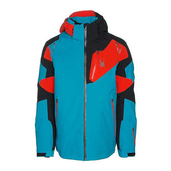 Spyder Leader Mens Insulated Ski Jacket, Electric Blue-Black-Rage, 600