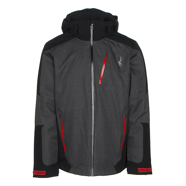 Spyder Chambers Mens Insulated Ski Jacket, Polar Crosshatch-Black-Red, 600