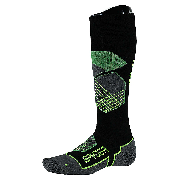 Spyder Explorer Ski Socks (Previous Season), Black-Blade-Bryte Yellow, 600