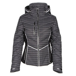 NILS Flo Womens Insulated Ski Jacket, Velocity Print-Black-White, 256